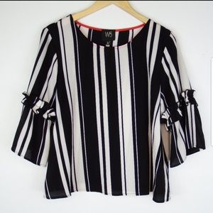 🖤ANTHROPOLOGIE | W5 STRIPED BELL SLEEVE TOP